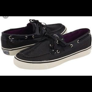 Black sequin Sperry top sider shoes sizes 9